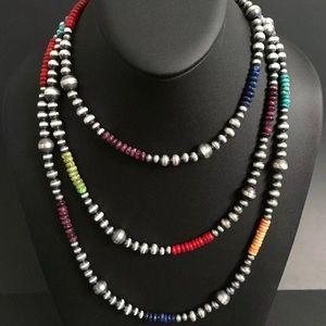 Jewelry - Multi Stone Navajo Pearls Necklace. 60 inch